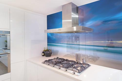 Custom printed glass splashback